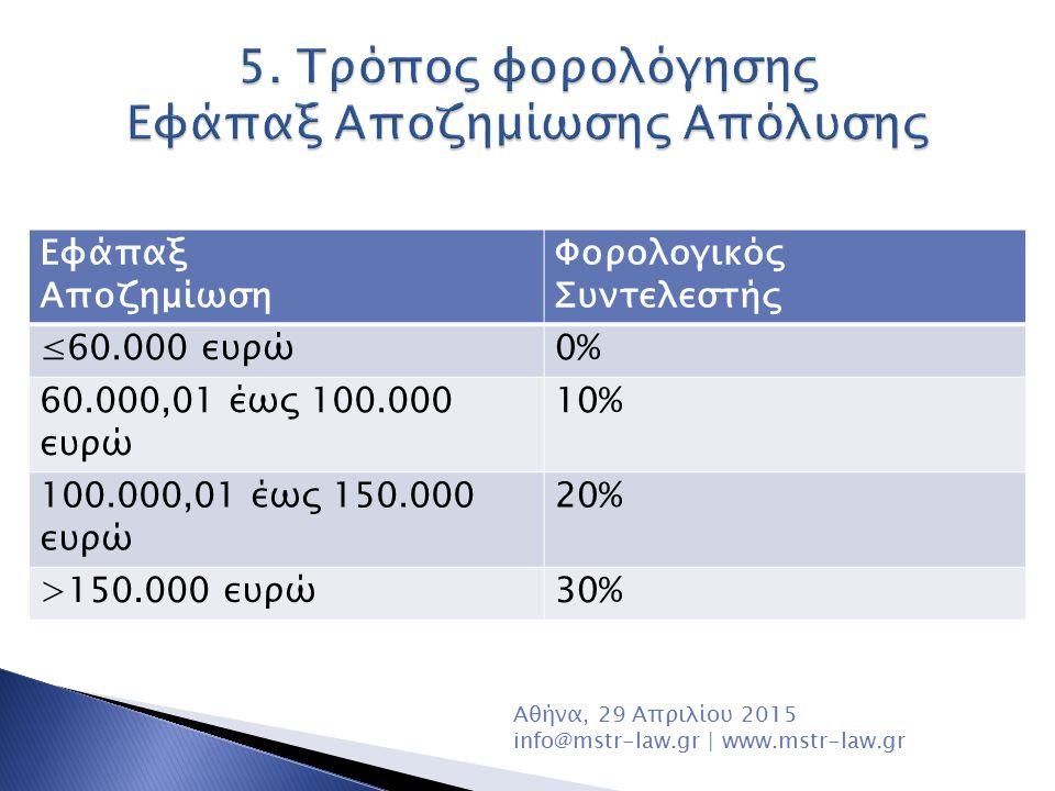 5. Τρόπος φορολόγησης Εφάπαξ Αποζημίωσης Απόλυσης