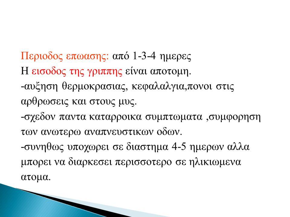 Περιοδος επωασης: από 1-3-4 ημερες Η εισοδος της γριππης είναι αποτομη
