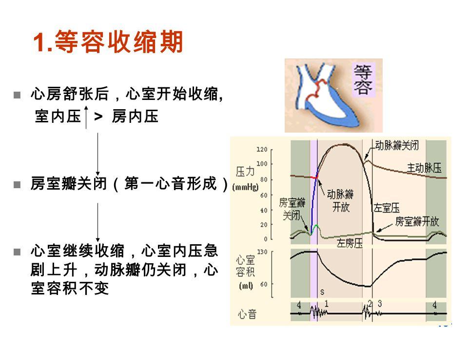 1.等容收缩期 心房舒张后,心室开始收缩, 室内压 > 房内压 房室瓣关闭(第一心音形成)