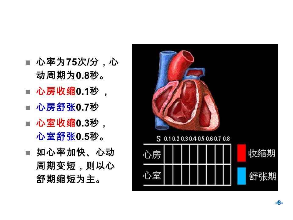 心率为75次/分,心动周期为0.8秒。 心房收缩0.1秒 , 心房舒张0.7秒 心室收缩0.3秒, 心室舒张0.5秒。 如心率加快、心动周期变短,则以心舒期缩短为主。