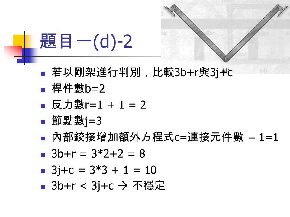 題目一(d)-2 若以剛架進行判別,比較3b+r與3j+c 桿件數b=2 反力數r=1 + 1 = 2 節點數j=3