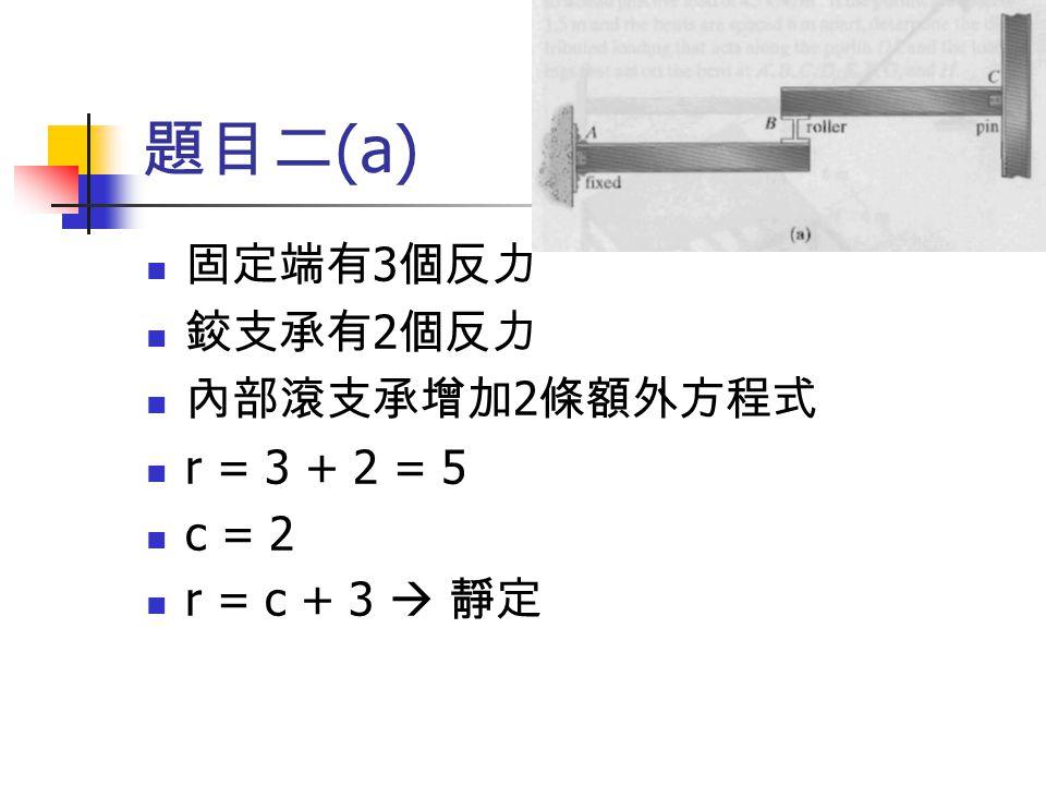 題目二(a) 固定端有3個反力 鉸支承有2個反力 內部滾支承增加2條額外方程式 r = 3 + 2 = 5 c = 2