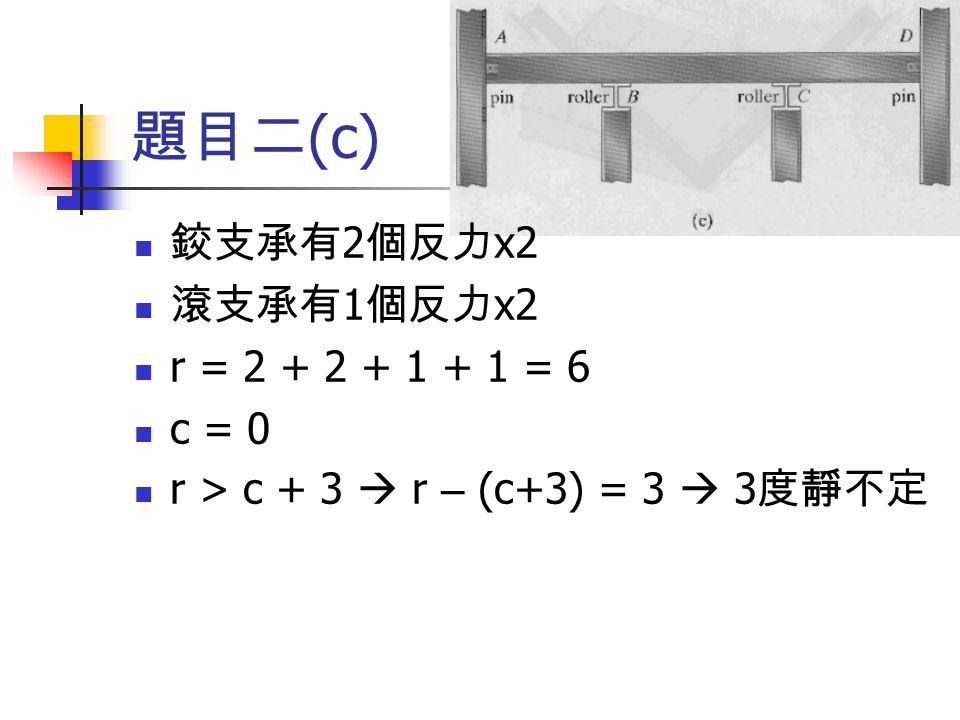題目二(c) 鉸支承有2個反力x2 滾支承有1個反力x2 r = 2 + 2 + 1 + 1 = 6 c = 0