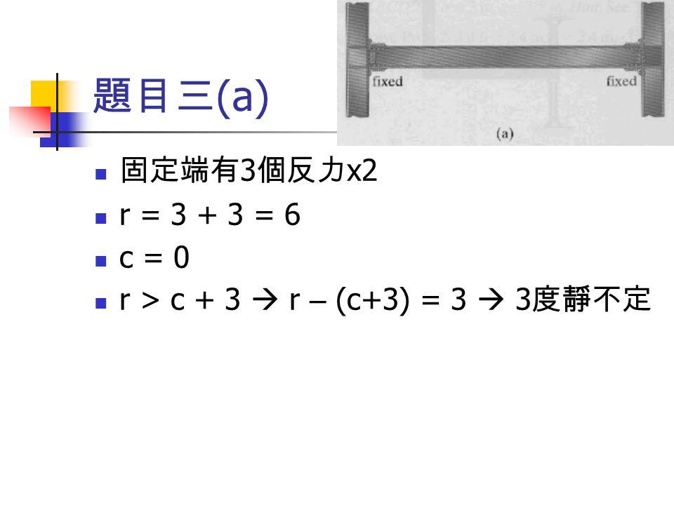 題目三(a) 固定端有3個反力x2 r = 3 + 3 = 6 c = 0