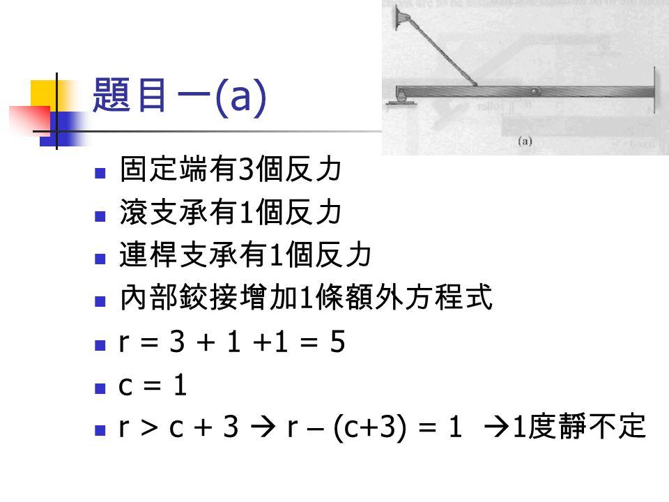 題目一(a) 固定端有3個反力 滾支承有1個反力 連桿支承有1個反力 內部鉸接增加1條額外方程式 r = 3 + 1 +1 = 5