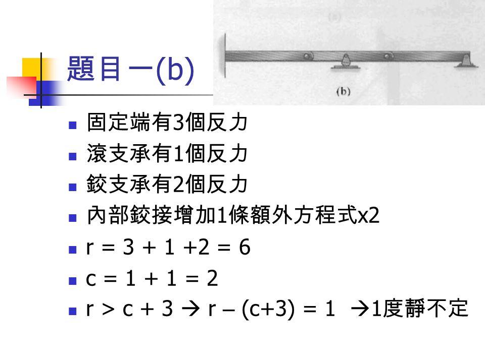 題目一(b) 固定端有3個反力 滾支承有1個反力 鉸支承有2個反力 內部鉸接增加1條額外方程式x2 r = 3 + 1 +2 = 6