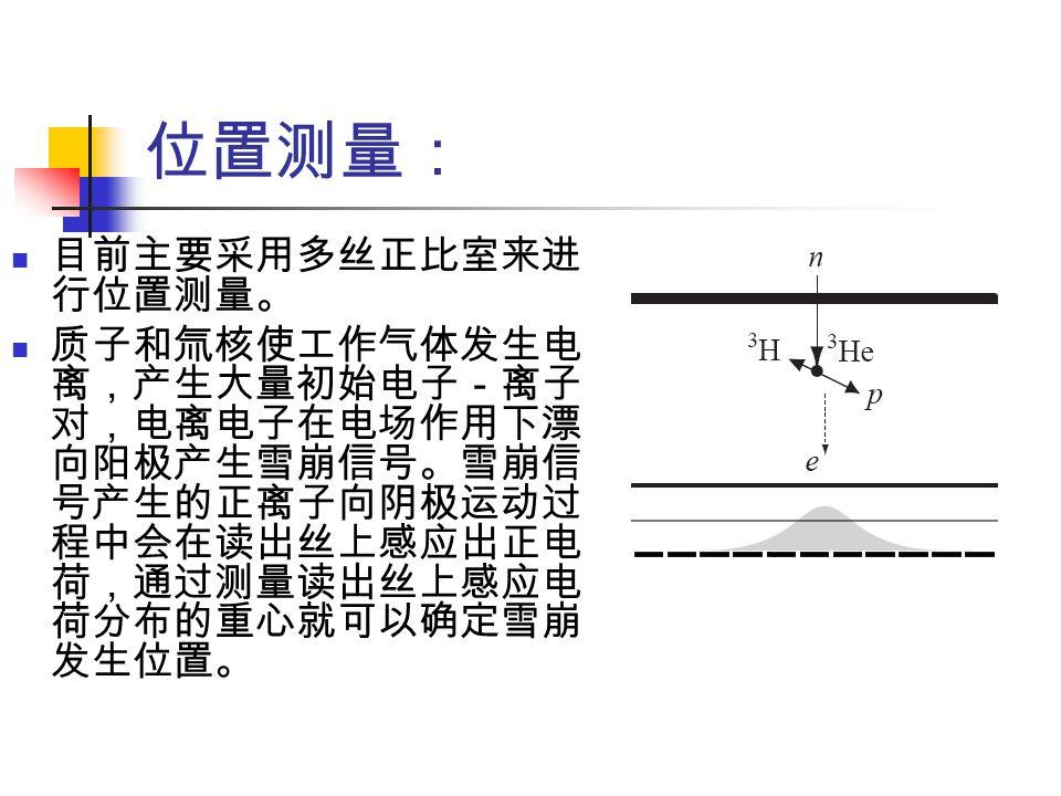 位置测量: 目前主要采用多丝正比室来进行位置测量。