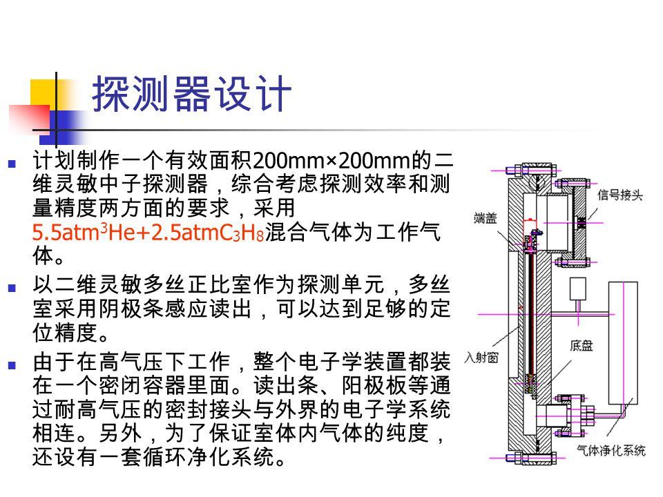 探测器设计 计划制作一个有效面积200mm×200mm的二维灵敏中子探测器,综合考虑探测效率和测量精度两方面的要求,采用5.5atm3He+2.5atmC3H8混合气体为工作气体。 以二维灵敏多丝正比室作为探测单元,多丝室采用阴极条感应读出,可以达到足够的定位精度。