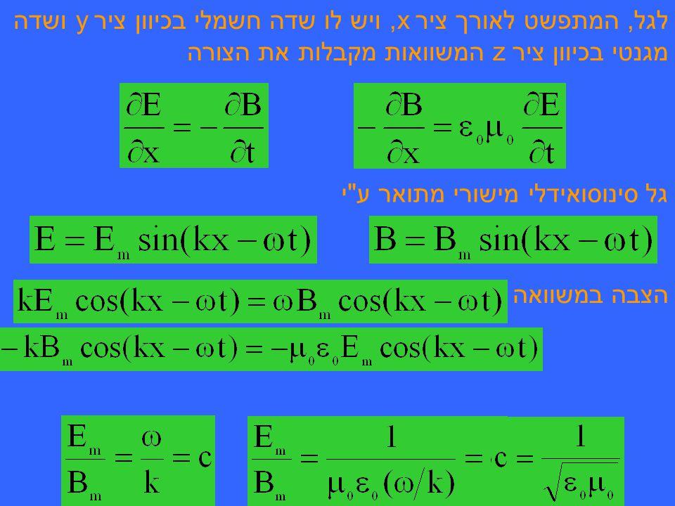 לגל, המתפשט לאורך ציר x, ויש לו שדה חשמלי בכיוון ציר y ושדה מגנטי בכיוון ציר z המשוואות מקבלות את הצורה