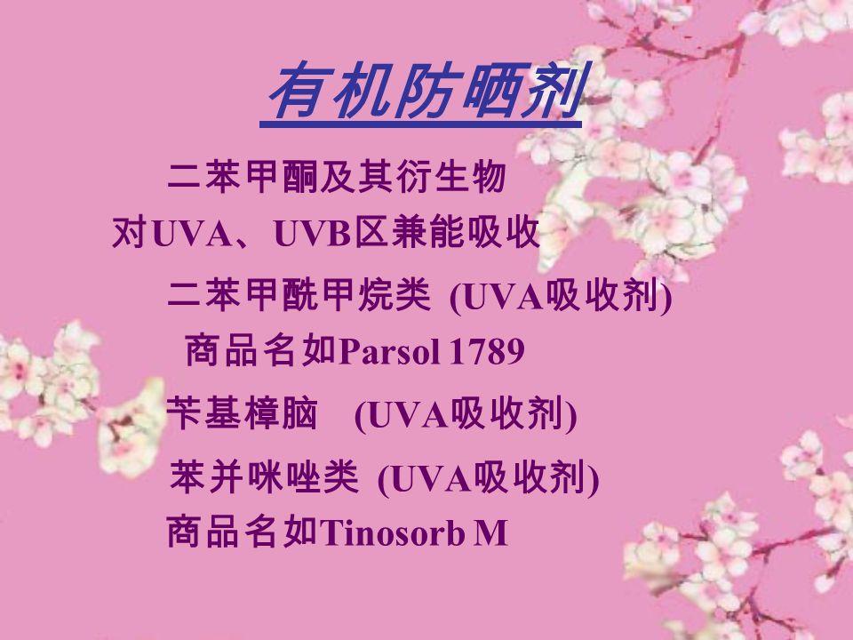 有机防晒剂 二苯甲酮及其衍生物 对UVA、UVB区兼能吸收 二苯甲酰甲烷类 (UVA吸收剂) 商品名如Parsol 1789