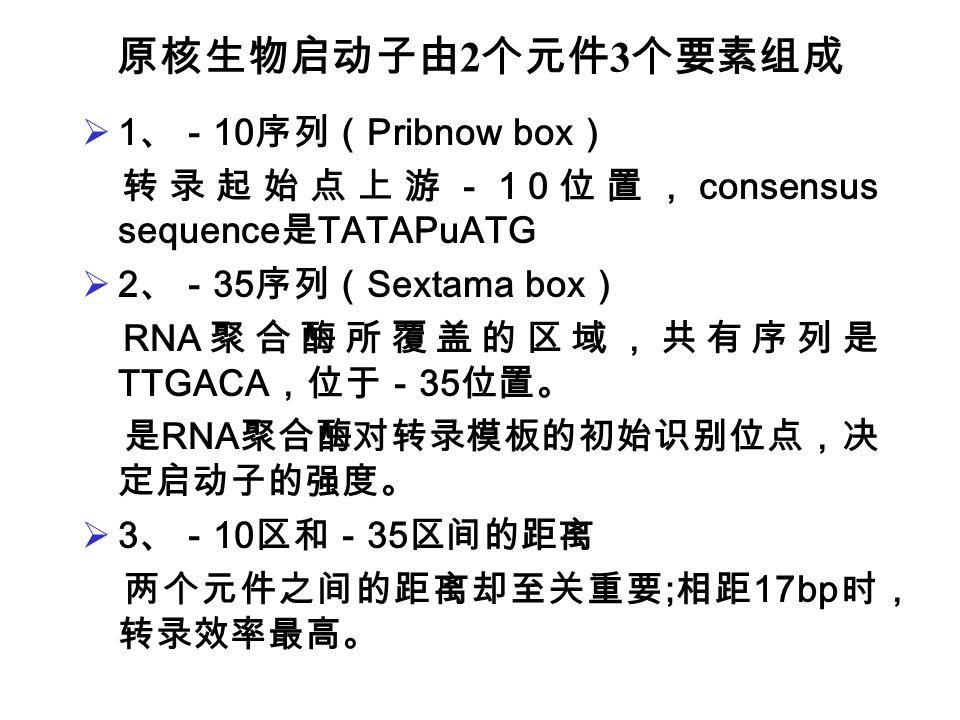 原核生物启动子由2个元件3个要素组成 1、-10序列(Pribnow box)