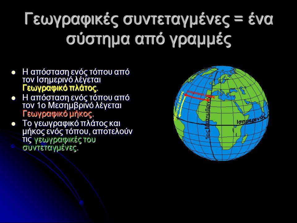 Γεωγραφικές συντεταγμένες = ένα σύστημα από γραμμές