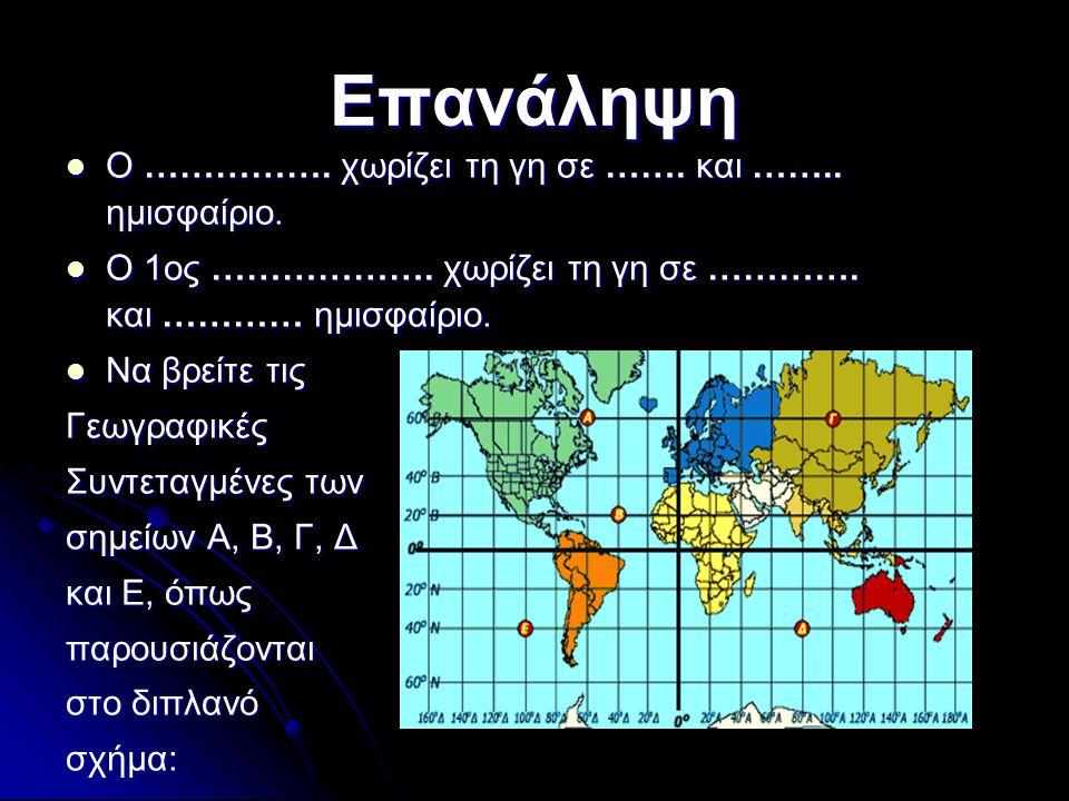 Επανάληψη Ο ……………. χωρίζει τη γη σε ……. και …….. ημισφαίριο.