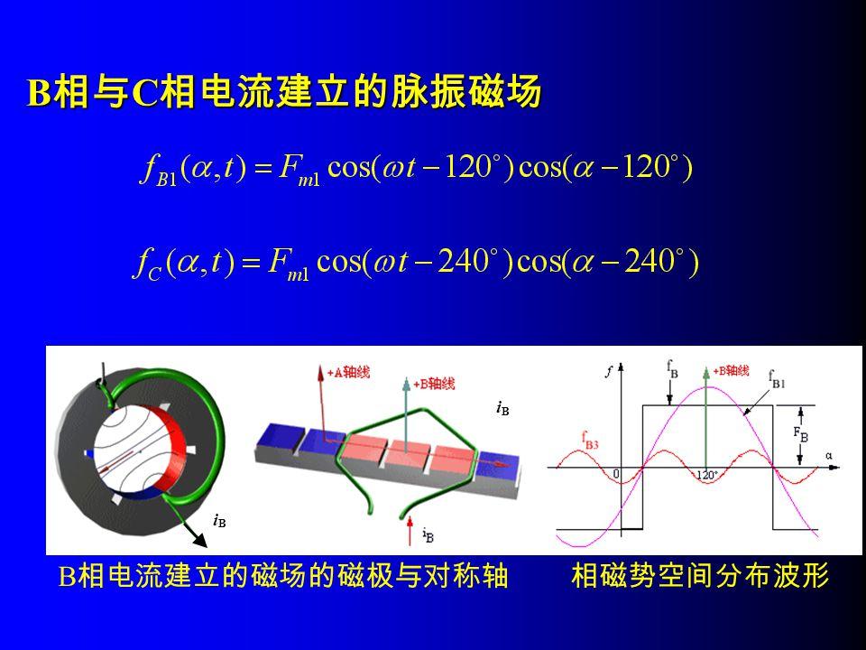 B相与C相电流建立的脉振磁场 B相电流建立的磁场的磁极与对称轴 i B 相磁势空间分布波形