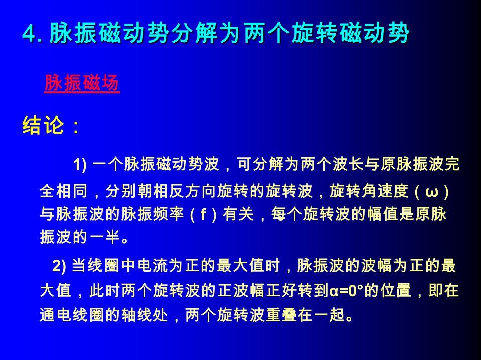 4. 脉振磁动势分解为两个旋转磁动势 脉振磁场. 结论: 1) 一个脉振磁动势波,可分解为两个波长与原脉振波完全相同,分别朝相反方向旋转的旋转波,旋转角速度(ω)与脉振波的脉振频率(f)有关,每个旋转波的幅值是原脉振波的一半。