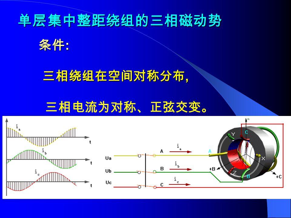 单层集中整距绕组的三相磁动势 条件: 三相绕组在空间对称分布, 三相电流为对称、正弦交变。