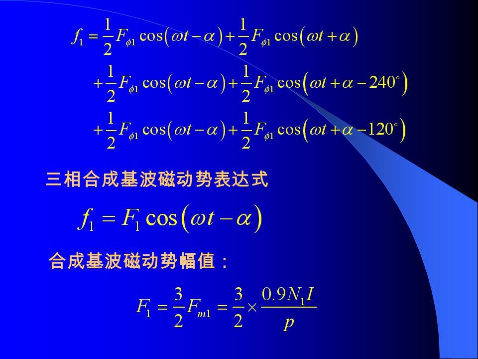 三相合成基波磁动势表达式 合成基波磁动势幅值: