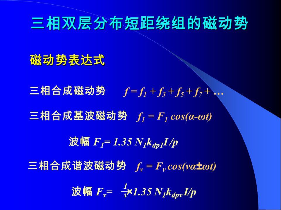 三相双层分布短距绕组的磁动势 磁动势表达式 三相合成磁动势 f = f1 + f3 + f5 + f7 + …