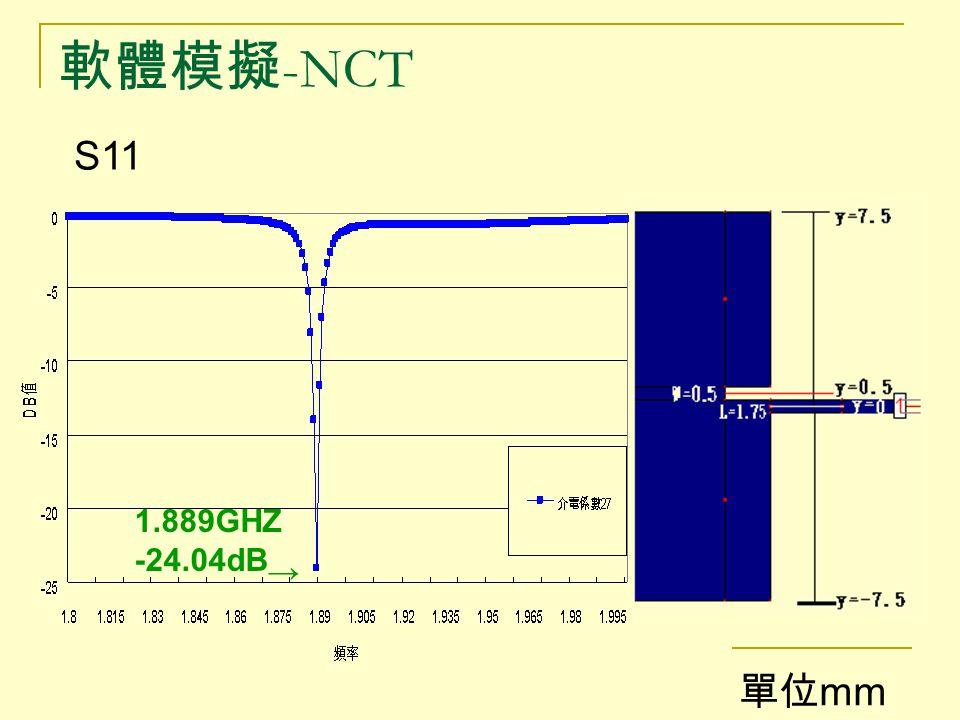軟體模擬-NCT S11 1.889GHZ -24.04dB→ 單位mm