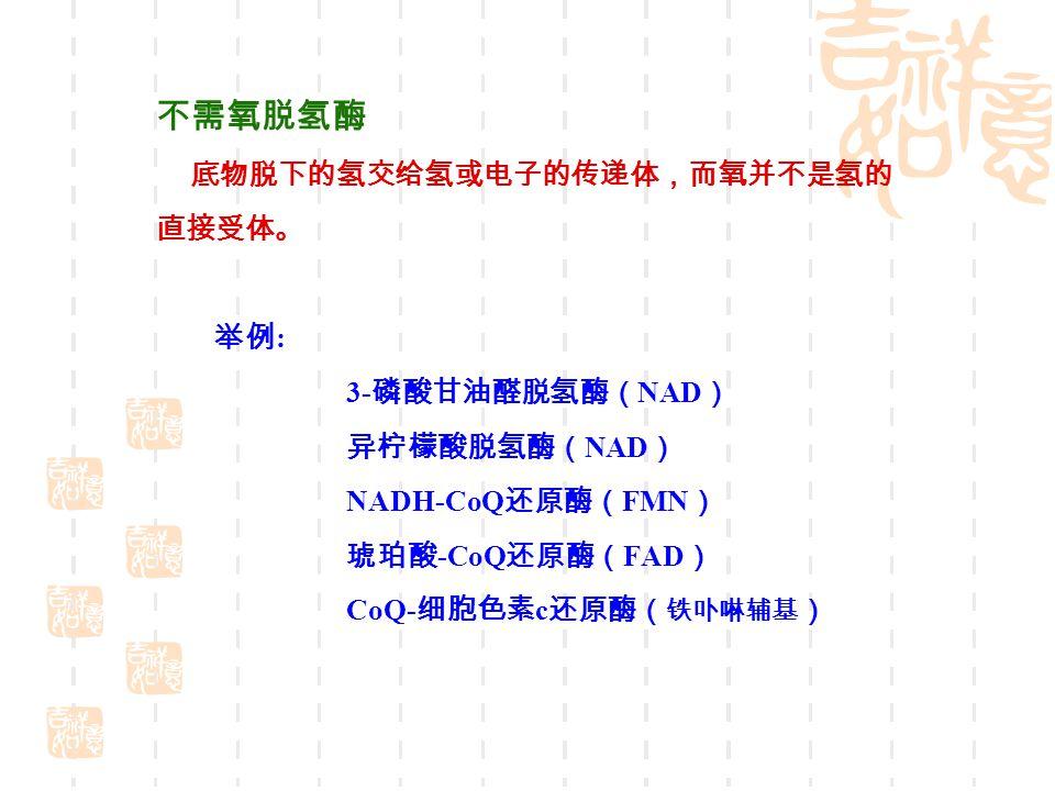 不需氧脱氢酶 底物脱下的氢交给氢或电子的传递体,而氧并不是氢的 直接受体。 举例: 3-磷酸甘油醛脱氢酶(NAD) 异柠檬酸脱氢酶(NAD)