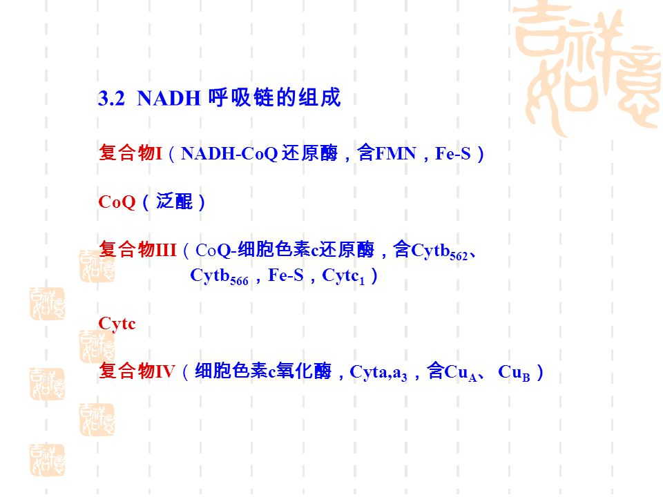 3.2 NADH 呼吸链的组成 复合物I(NADH-CoQ 还原酶,含FMN,Fe-S) CoQ(泛醌)
