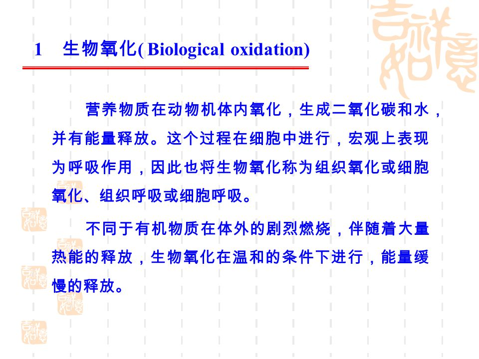 1 生物氧化( Biological oxidation)