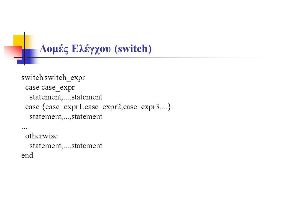 Δομές Ελέγχου (switch)