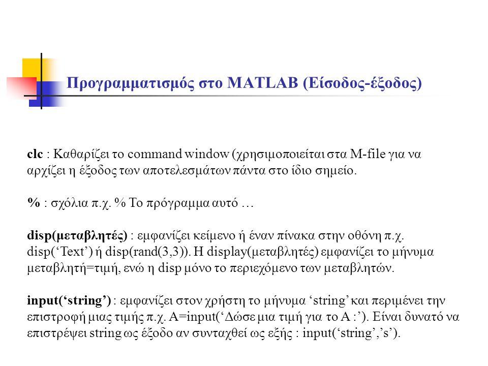 Προγραμματισμός στο MATLAB (Είσοδος-έξοδος)
