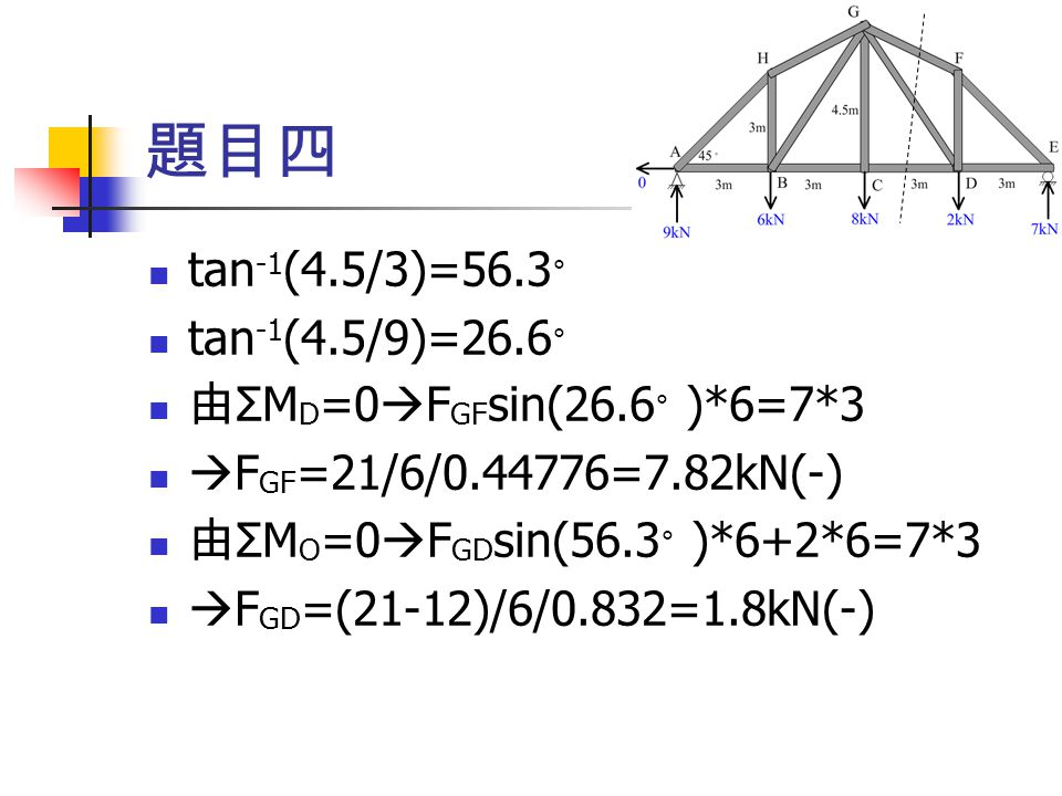 題目四 tan-1(4.5/3)=56.3。 tan-1(4.5/9)=26.6。 由ΣMD=0FGFsin(26.6。)*6=7*3