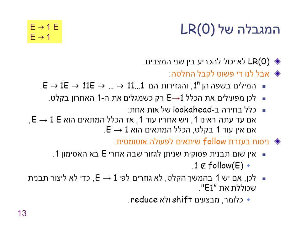 המגבלה של LR(0) E → 1 E E → 1 LR(0) לא יכול להכריע בין שני המצבים.