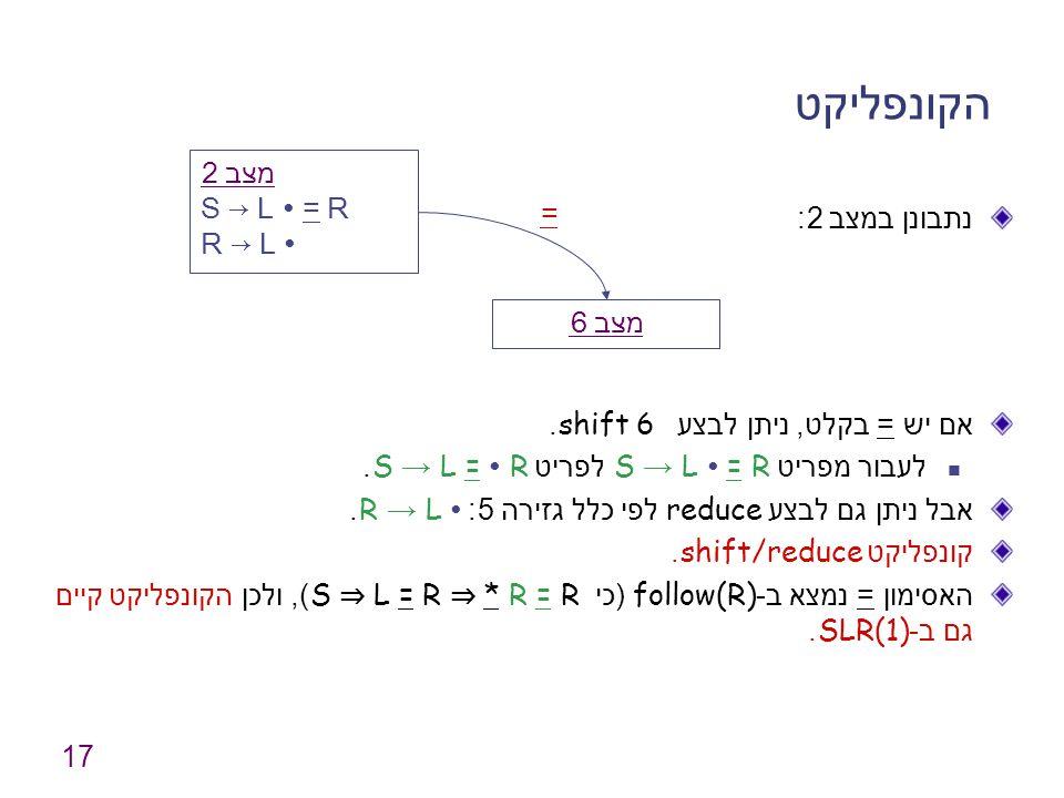 הקונפליקט מצב 2 S → L ∙ = R R → L ∙ = נתבונן במצב 2: