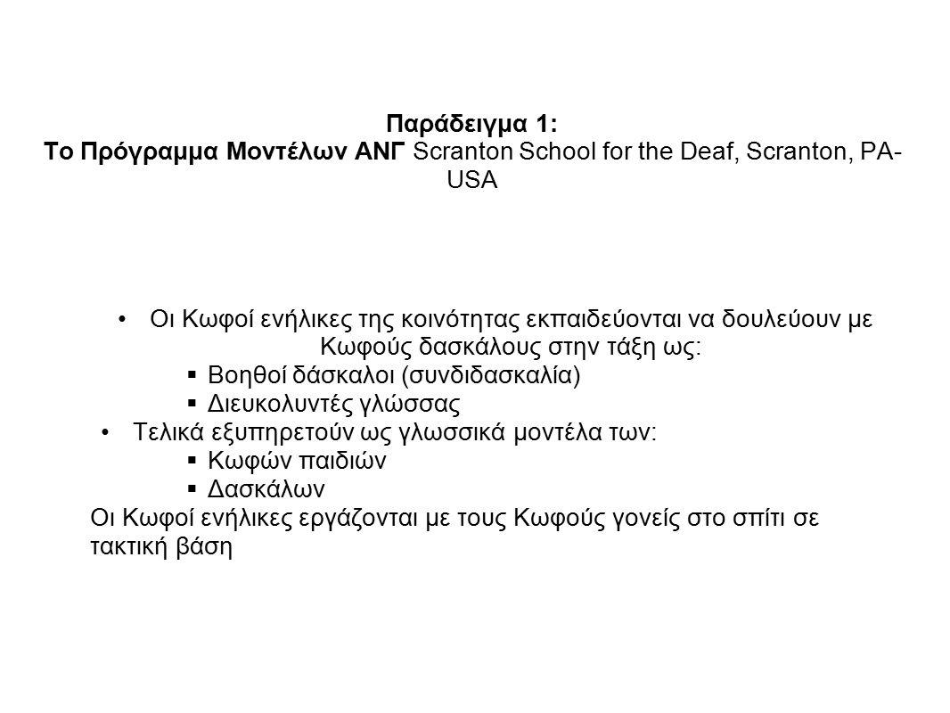 Παράδειγμα 1: Το Πρόγραμμα Μοντέλων ΑΝΓ Scranton School for the Deaf, Scranton, PA-USA