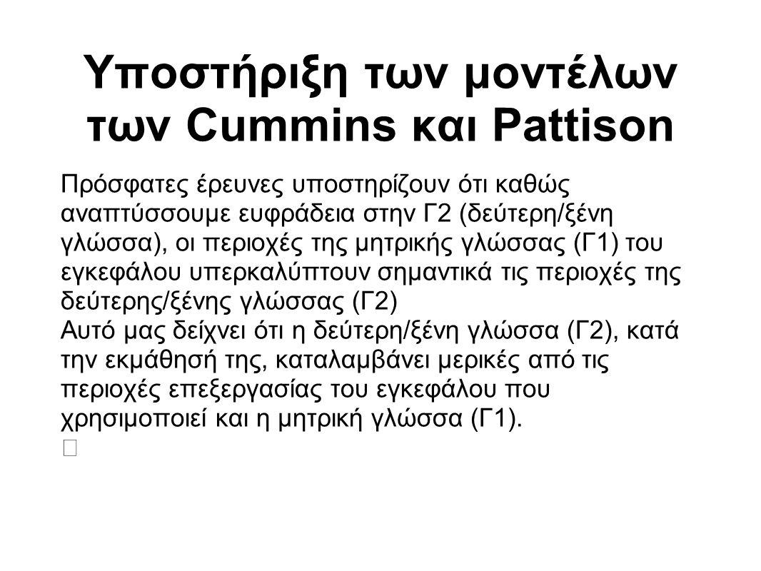 Υποστήριξη των μοντέλων των Cummins και Pattison