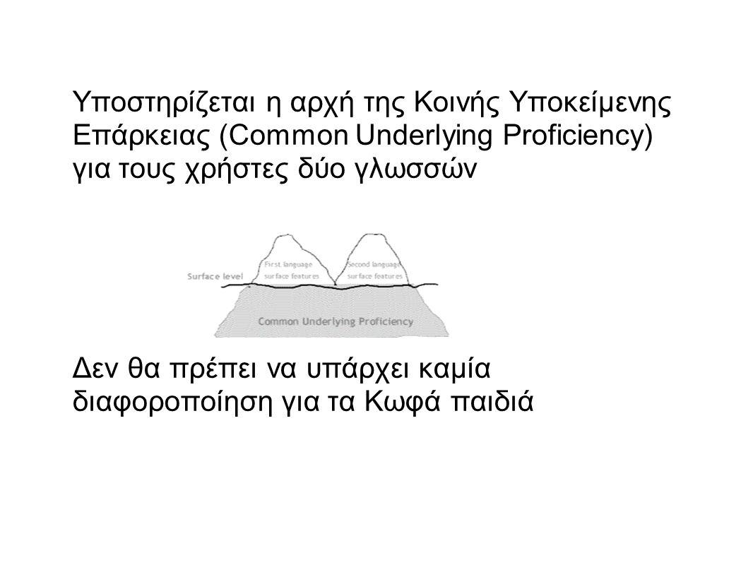 Υποστηρίζεται η αρχή της Κοινής Υποκείμενης Επάρκειας (Common Underlying Proficiency) για τους χρήστες δύο γλωσσών