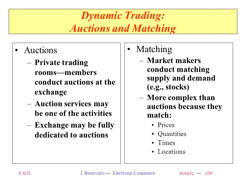 Dynamic Trading: Auctions and Matching