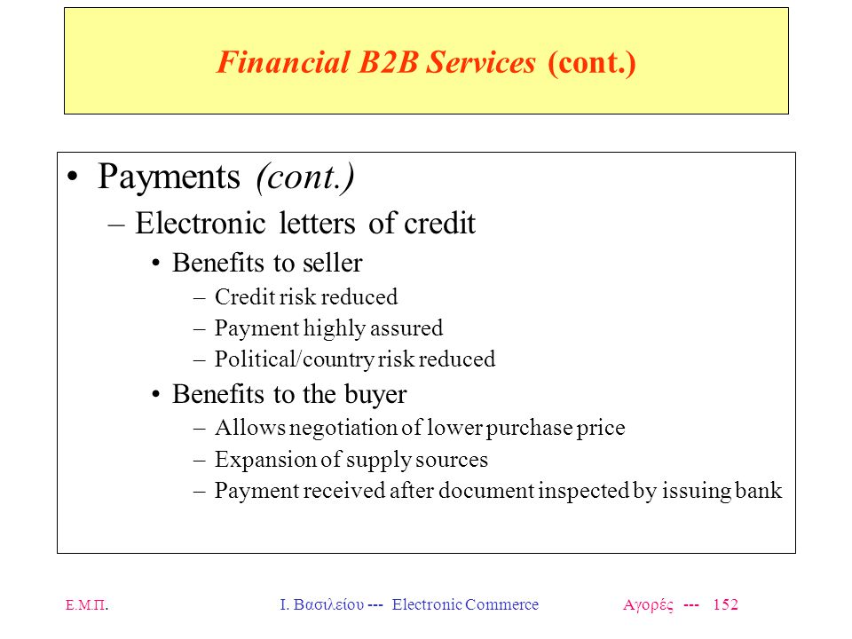 Financial B2B Services (cont.)