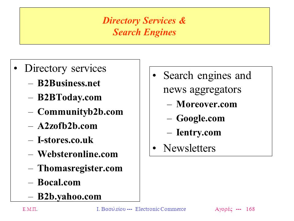Directory Services & Search Engines