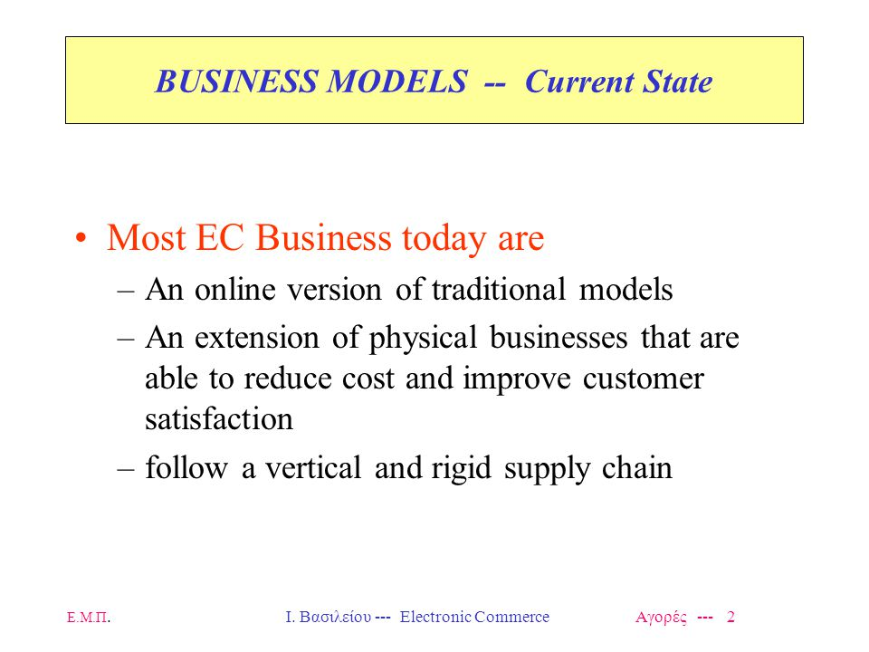 BUSINESS MODELS -- Current State