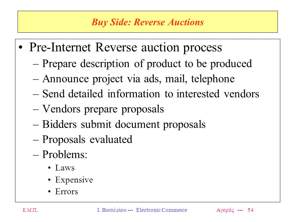 Buy Side: Reverse Auctions