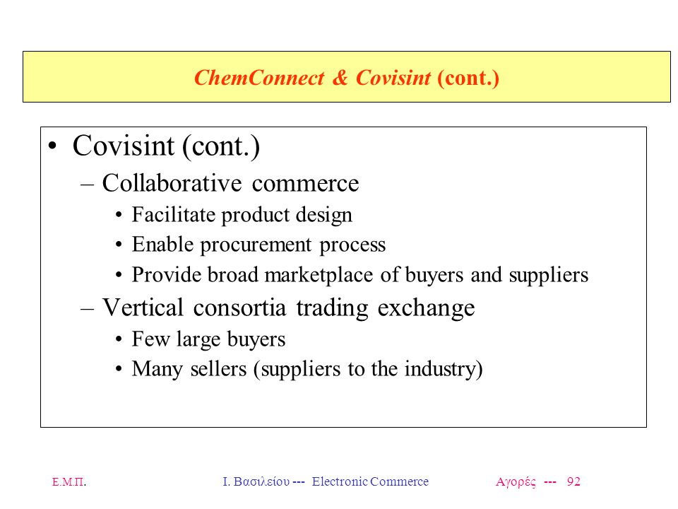 ChemConnect & Covisint (cont.)