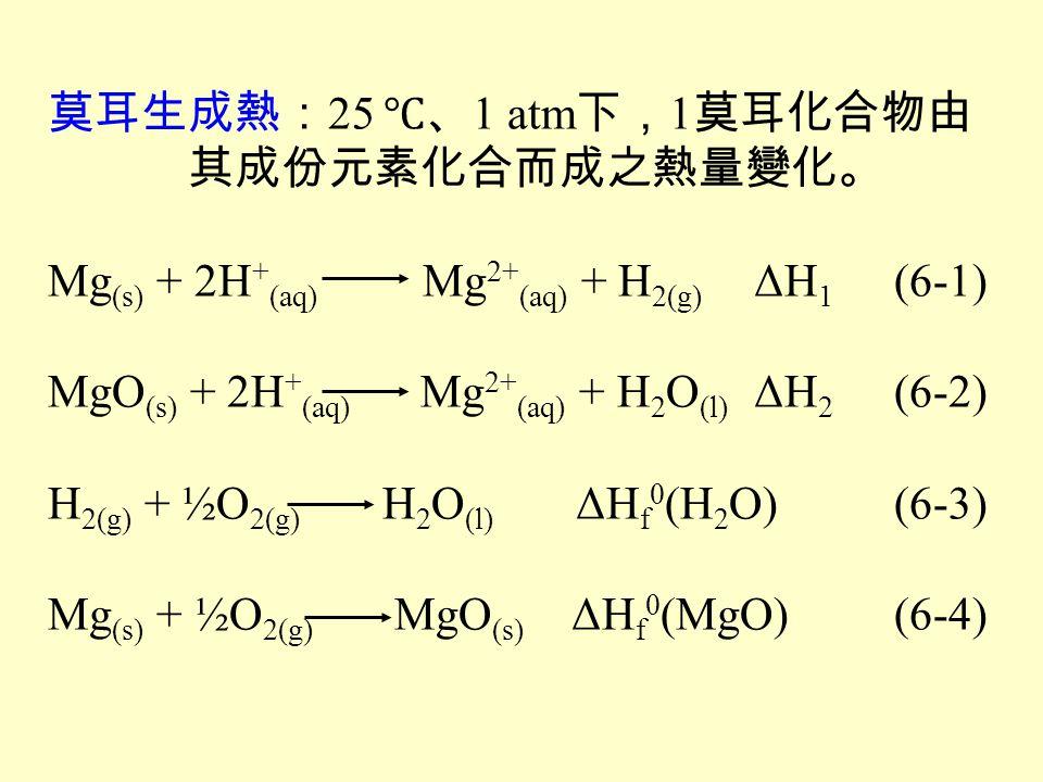 莫耳生成熱:25 ℃、1 atm下,1莫耳化合物由 其成份元素化合而成之熱量變化。