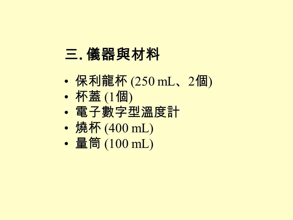 三. 儀器與材料 保利龍杯 (250 mL、2個) 杯蓋 (1個) 電子數字型溫度計 燒杯 (400 mL) 量筒 (100 mL)