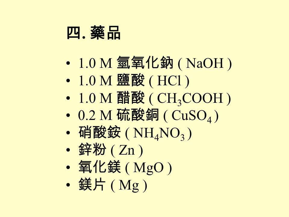 四. 藥品 1.0 M 氫氧化鈉 ( NaOH ) 1.0 M 鹽酸 ( HCl ) 1.0 M 醋酸 ( CH3COOH )