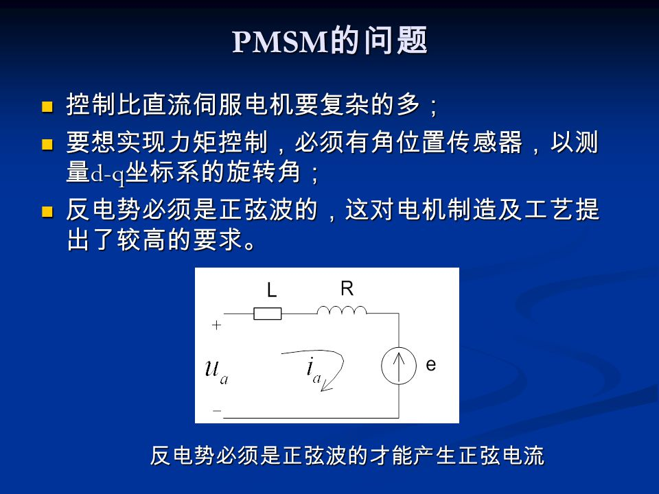 PMSM的问题 控制比直流伺服电机要复杂的多; 要想实现力矩控制,必须有角位置传感器,以测量d-q坐标系的旋转角;