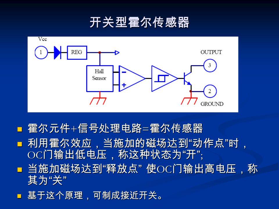 开关型霍尔传感器 霍尔元件+信号处理电路=霍尔传感器 利用霍尔效应,当施加的磁场达到 动作点 时,OC门输出低电压,称这种状态为 开 ;