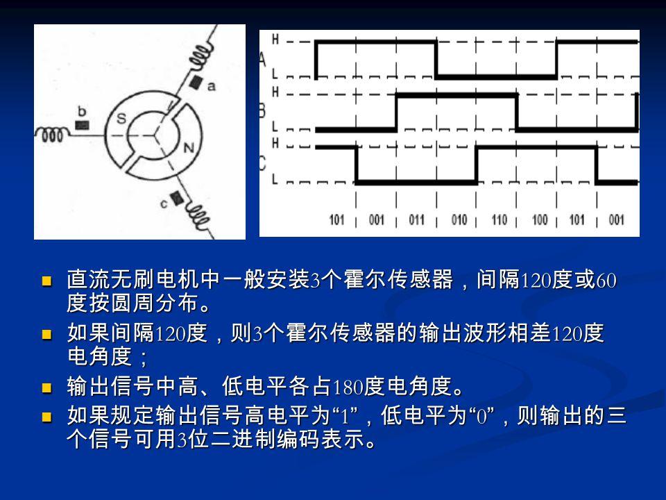 直流无刷电机中一般安装3个霍尔传感器,间隔120度或60度按圆周分布。