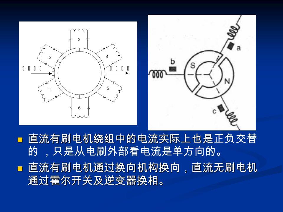 直流有刷电机绕组中的电流实际上也是正负交替的 ,只是从电刷外部看电流是单方向的。