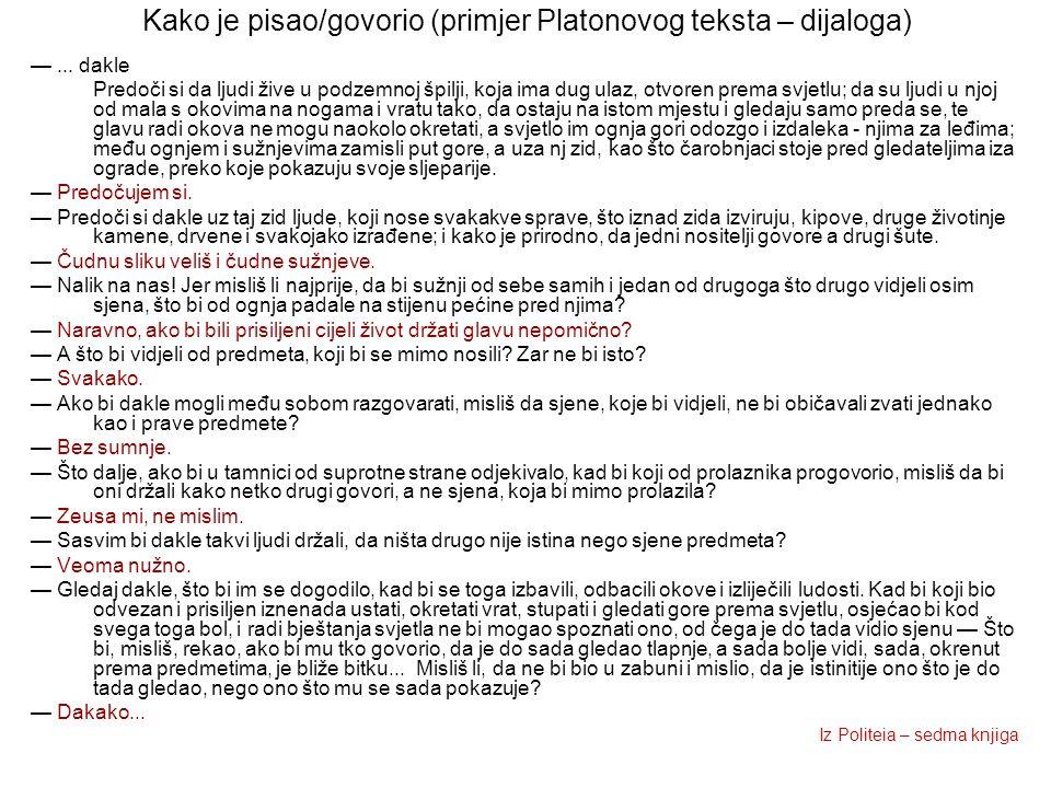 Kako je pisao/govorio (primjer Platonovog teksta – dijaloga)