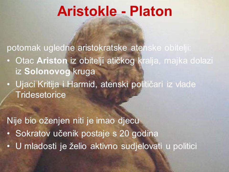Aristokle - Platon potomak ugledne aristokratske atenske obitelji: