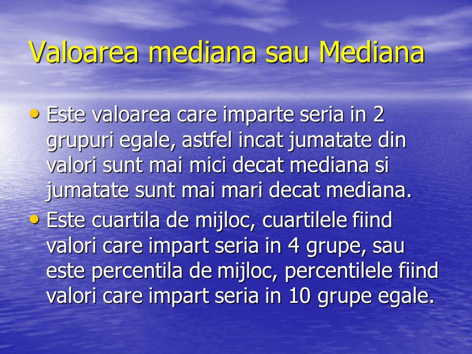 Valoarea mediana sau Mediana